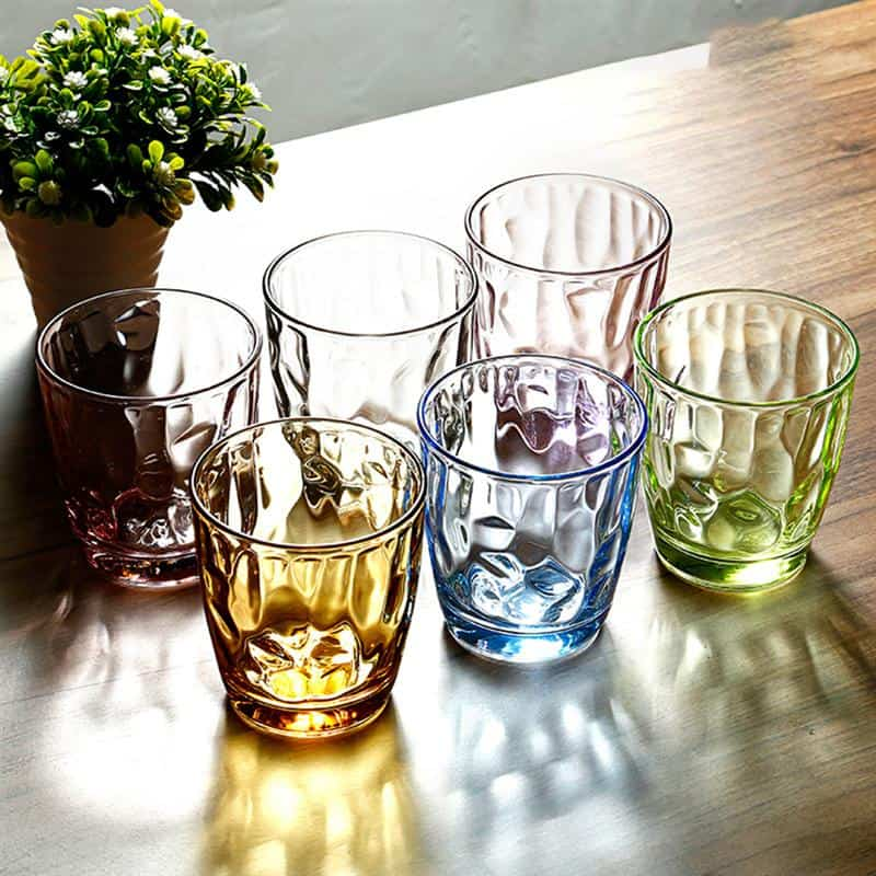 6pcs 310ml Colored Break Resistant Cups Acrylic Drinking Glasses Unbreakable Tumblers Recycled Wine Beverage Glasses
