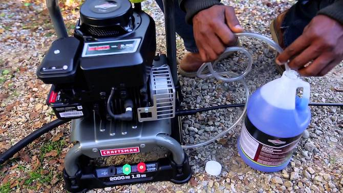 using soap on gas pressure washer