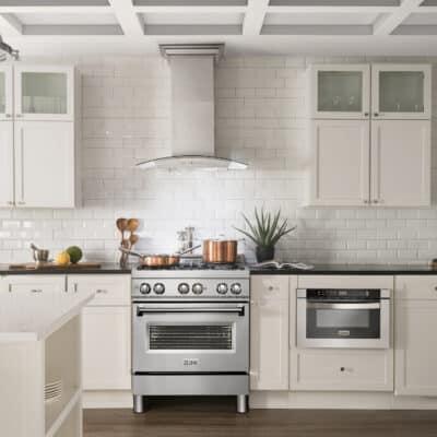 zline stainless steel range RA 30 front white kitchen lifestyle